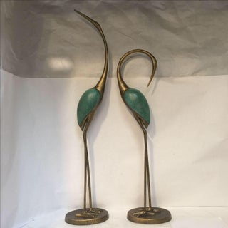 Asian Style Golden Crane Sculptures - a Pair Preview