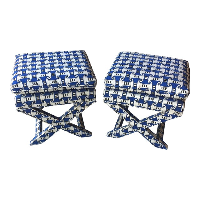 Vintage Blue Upholstered X-Benches - a Pair For Sale