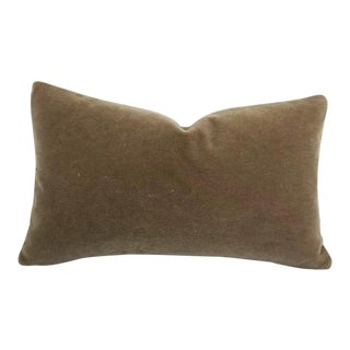 "S. Harris Melrose Mohair Velvet in Linen Lumbar Pillow Cover - 12"" X 20"" For Sale"