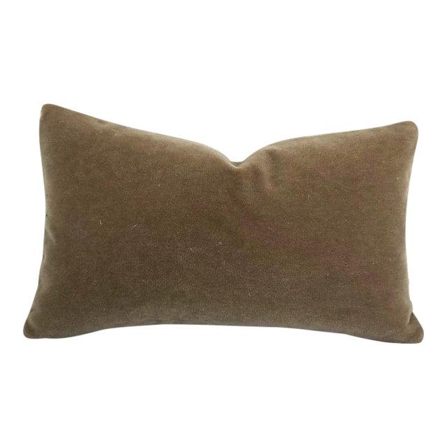 """S. Harris Melrose Mohair Velvet in Linen Lumbar Pillow Cover - 12"""" X 20"""" For Sale"""