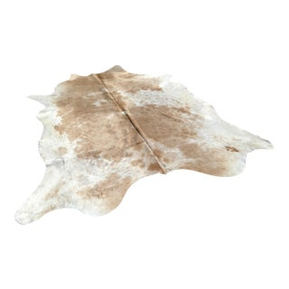Tan and Off White Cowhide Rug - 7′ × 7′4″