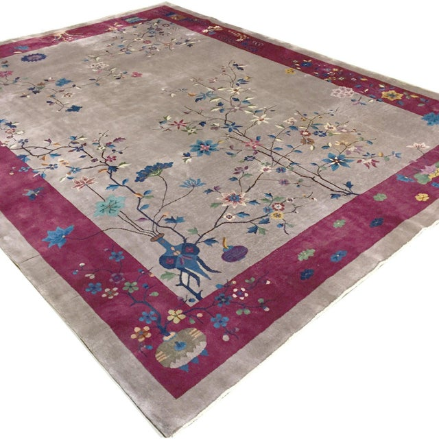 Art Deco Chinese Rug 8'10 X 11'5 For Sale - Image 4 of 6