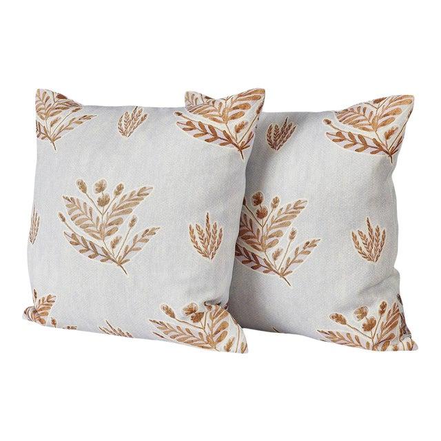 Custom Emily Lavender Knife Edge Pillows - a Pair For Sale