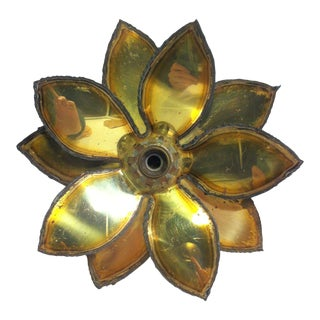 1950s Mid Century Brutalist Floral Dore Cut Metal Flush Mount Fixture Attrib. Sven Aage For Sale