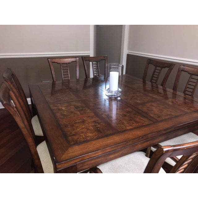 Contemporary Square Table With Spindle Back Chairs Dining Set For Sale - Image 3 of 8
