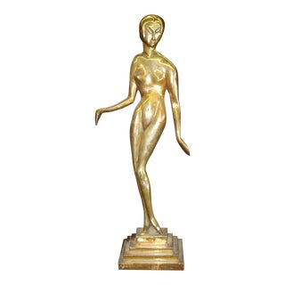 Bronze Nude Female Statue in the Style of Brancusi For Sale