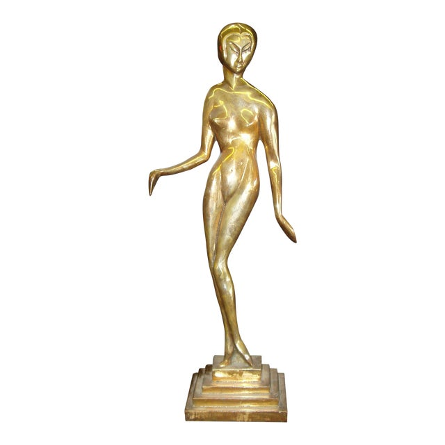 Bronze Nude Female Statue in the Style of Brancusi - Image 1 of 3