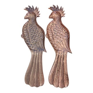 Rose Gold Cockatoo Platters - A Pair