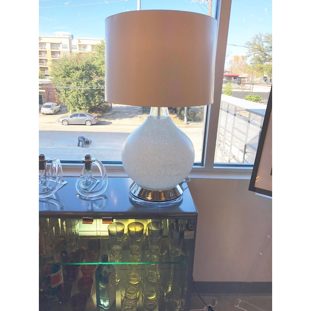 Pair of Mid Century Modern Vistosi White Murano Glass & Chrome Table Lamps with Lucite bases - Image 3 of 7