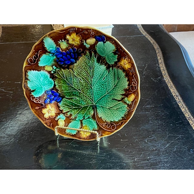 Fabulous colors, green, aqua, yellow and purple on this 19th century Majolica leaf plate from France.