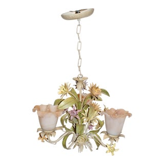 Mid-Century Three-Light Polychrome Tole Chandelier For Sale