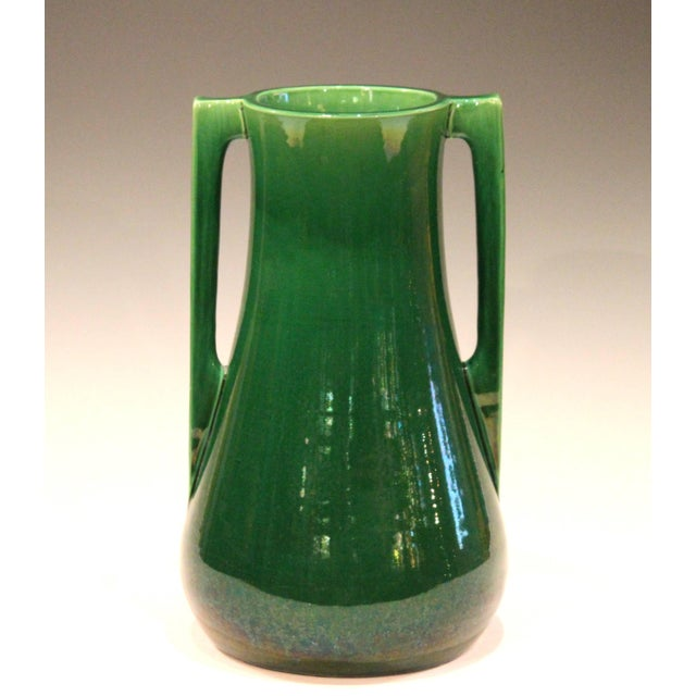 Vintage Awaji vase in terrific architectural form with applied buttress handles and deep green monochrome glaze, circa...