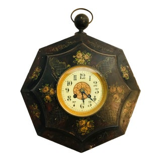 19th Century Tole Painted Decorative Wall Clock For Sale