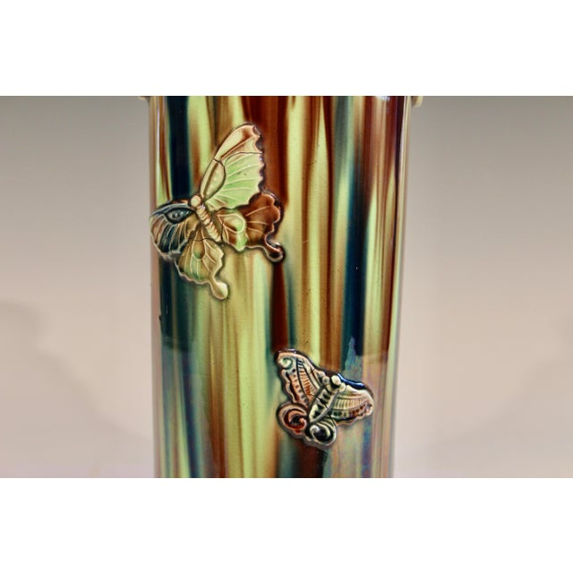 Ceramic Early 20th Century Pottery Vase with Butterfly Motif and Drip Flambe Glaze For Sale - Image 7 of 13