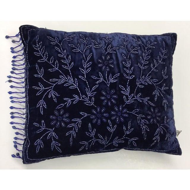 Panne Velvet Beaded and Fringe Throw Pillow For Sale - Image 10 of 10