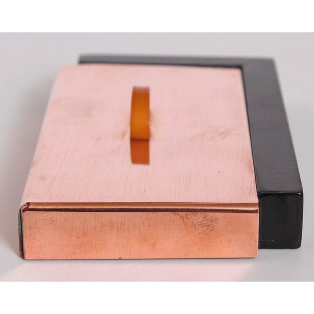 Art Deco Machine Age Art Deco Asymmetric Covered Box in Copper, Catalin and Lacquer For Sale - Image 3 of 11