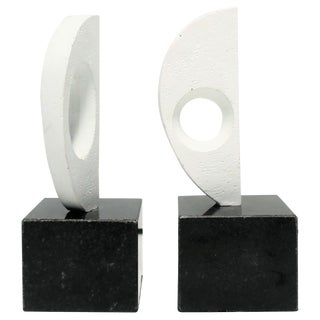 Pair of Black and White Plaster Abstract Sculptures or Bookends on Marble Bases For Sale