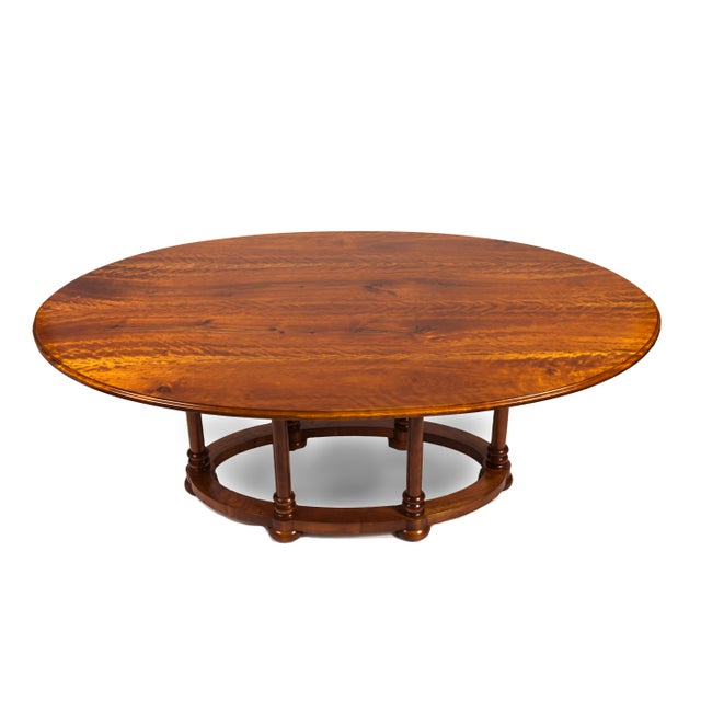 Traditional Custom Tiger Maple Oval Dining Table For Sale - Image 3 of 3