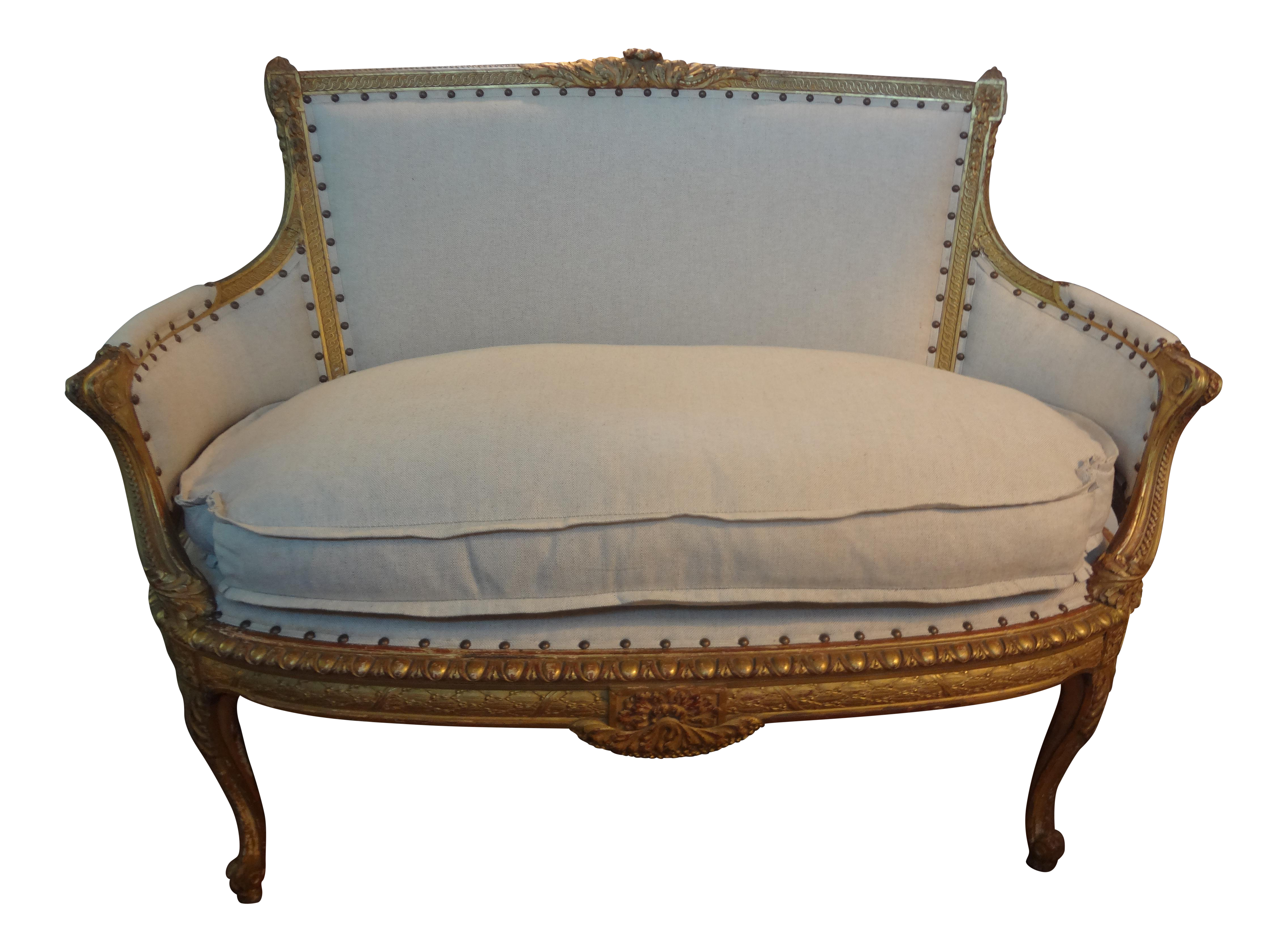 Antique French Regency-Style Gilt Canape | Chairish