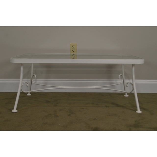 Woodard Furniture Co. Woodard for Crown Leisure White Wrought Iron Glass Top Patio Coffee Table For Sale - Image 4 of 13