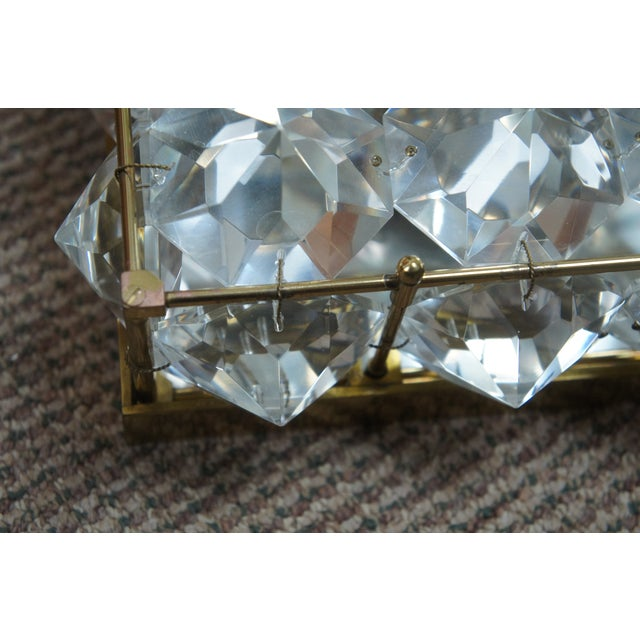 Mid Century Cut Crystal Flush Mounts- A Pair For Sale - Image 6 of 8