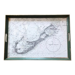 Bermuda Nautical Map Handled Vintage Tray For Sale