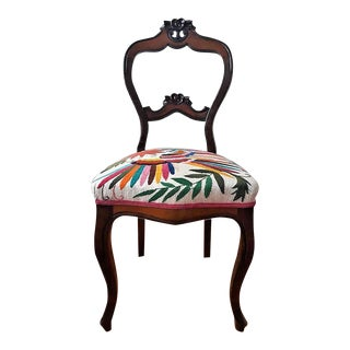 Victorian Balloon Back Mahogany Chair with Multi-color Otomi Textile Seat For Sale