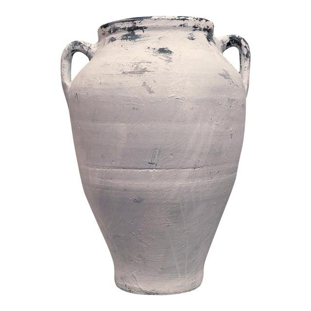 Antique Whitewashed Terracotta Handled Olive Jar For Sale