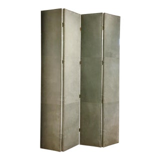 Hickory Chair Transitional Gray Leather Four Panel Screen/Room Divider For Sale