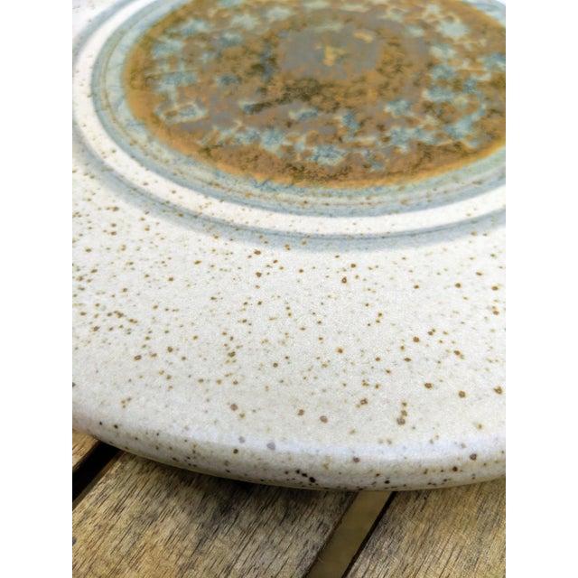Midcentury Modern Round Glazed Pottery Pedestal Platter For Sale - Image 9 of 13