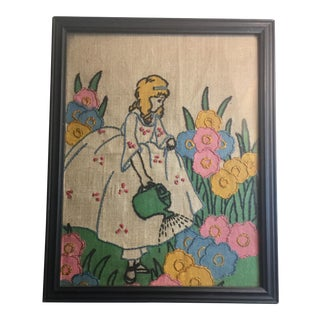 """Mary in Her Garden"" Embroidery Wall Art"