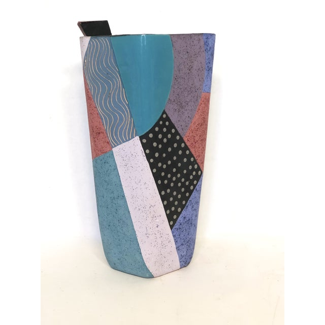 Turquoise Memphis Styled, Ceramic Art Vase, Signed Madelyn T. For Sale - Image 8 of 8