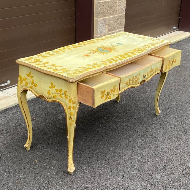 French Distressed French Provincial Painted Desk For Sale - Image 3 of 13