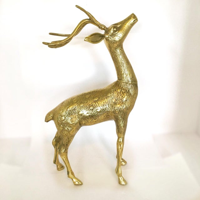 Large Vintage Brass Doe And Buck - Pair For Sale - Image 6 of 6