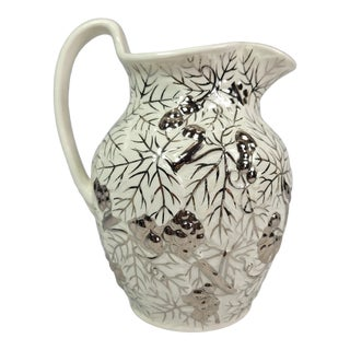 Vintage Wedgwood Pitcher Etruria & Barlaston Silver on Bisque Water Pitcher For Sale