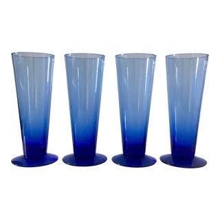 Memphis Style Futurist Cobalt Blue Blown Glasses - Set of 4 For Sale