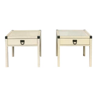 1960s Mid Century Modern Drexel Faux Bamboo Crosswinds End Tables - a Pair For Sale