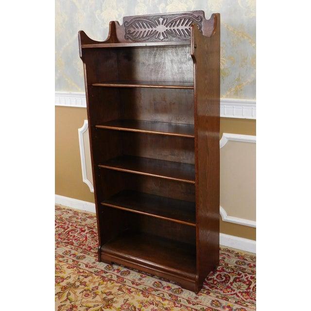 Antique 1920's Art-Nouveau Oak Bookcase - Image 4 of 7