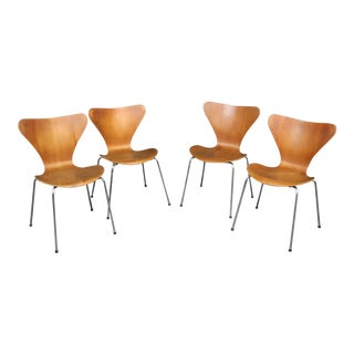 Vintage Mid Century Arne Jacobsen for Fritz Hansen Danish Bentwood Dining Chairs- Set of 4 For Sale