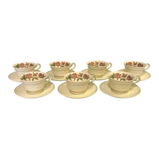 "Vintage Wedgewood Patrician ""Tapestry"" Collection Cup and Saucer - Set of 7 For Sale"