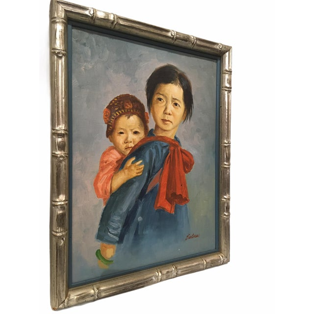 Vintage Oil on Canvas Portrait Painting of Mother and Child in a bamboo style frame