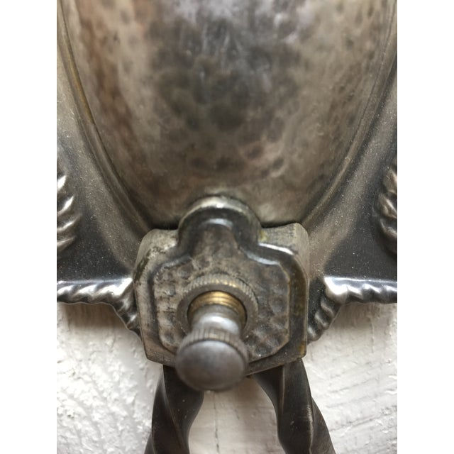 Metal Hammered Aluminum Sconces - A Pair For Sale - Image 7 of 8