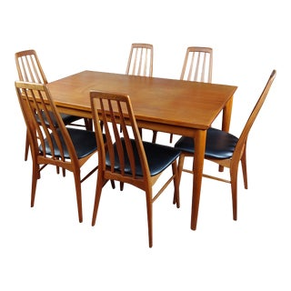 Danish Mid-Century Teak Dining Table With 6 Chairs by Koefoeds Hornslet For Sale