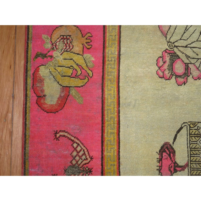 Yellow Bright Pink Boho Chic 19th Century Khotan Rug, 4'6'' x 6'10'' For Sale - Image 8 of 9