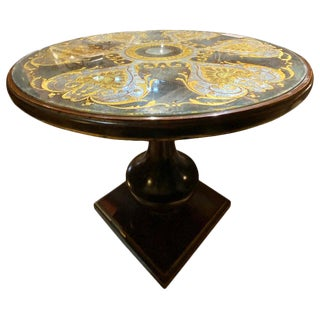 Maison Jansen Gueridon Occasional Table Verre Églomisé Glass Inset Circular Top For Sale