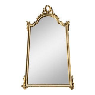 1940s Hard Carved Gold Wood Belgian Mirror For Sale