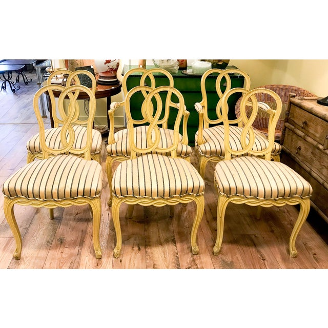 Set of 6 Mid Century Hollywood Regency Ribbon Back Dining Chairs - Image 10 of 12