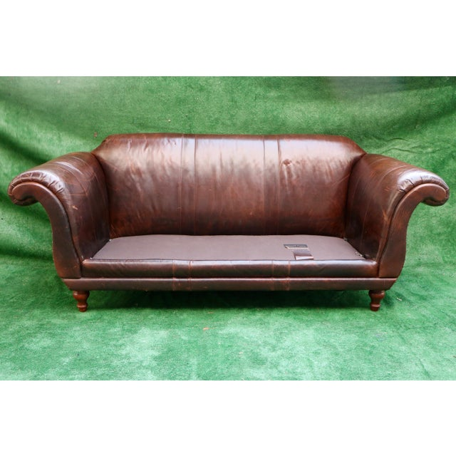 Animal Skin Vanguard Furniture Americana Brown Leather Sofa For Sale - Image 7 of 11