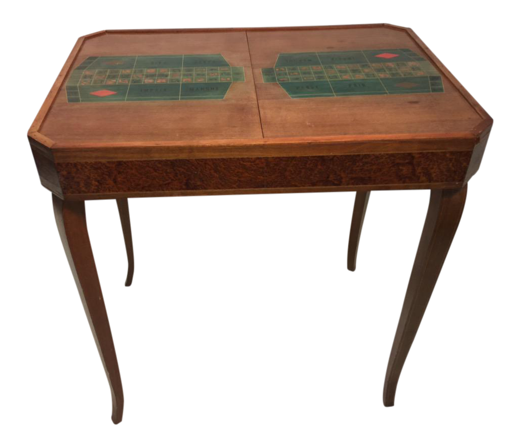 French Art Deco 1940u0027s Marquetry Roulette Game Table