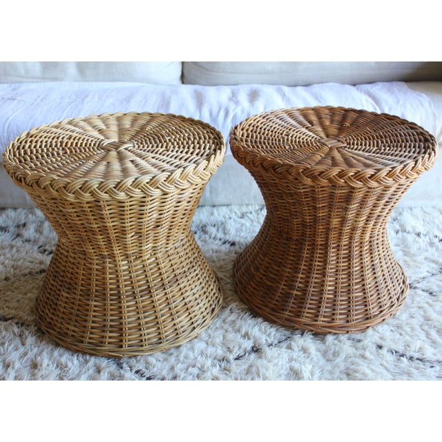 Vintage Mid Century the Wicker Works Rattan Handwoven High End Tulip Side Tables Franco Albini Gabriella Crespi Style - a Pair For Sale - Image 9 of 12